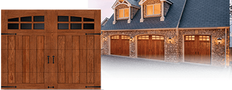 WOOD ALTERNATIVE CUSTOM DESIGN GARAGE DOOR WITH ARCH WINDOWS