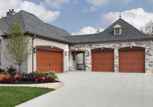 Steel Carriage House Wood Grain Garage Doors