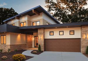 Modern Flush Steel Wood Grain Garage Door Collection CO