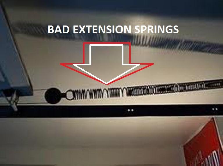 BAD GARAGE DOOR EXTENSION SPRINGS-BROKEN EXTENSION SPRING