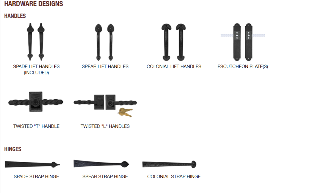 GALLERY HARDWARE OPTIONS