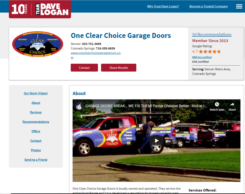 TEAM DAVE LOGAN GARAGE DOORS DENVER