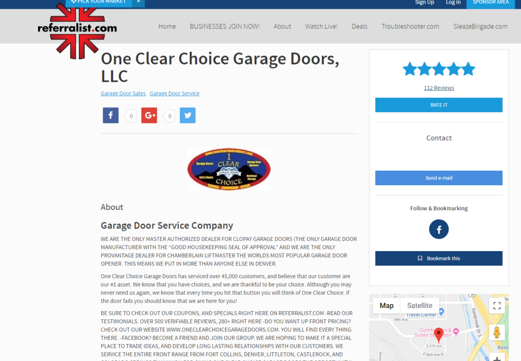 TOM MARTINO REFERRALIST GARAGE DOORS