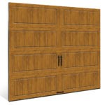 wood grain steel garage door