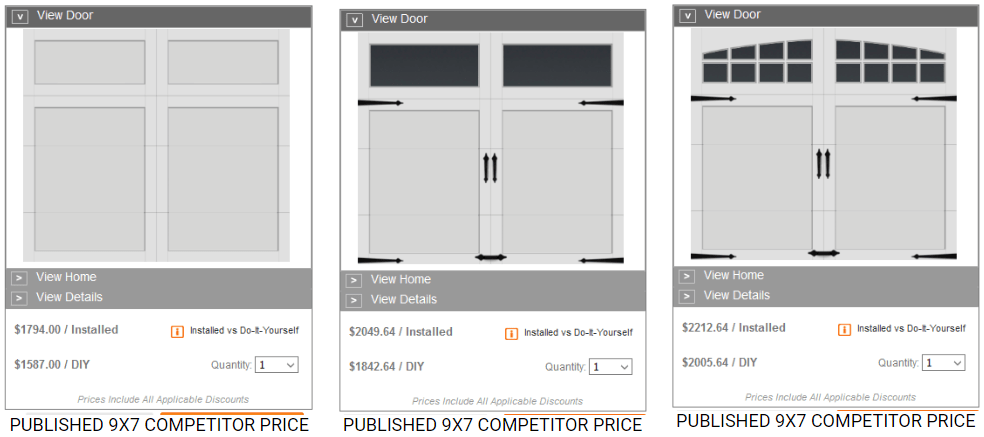 home depot posted garage door pricing